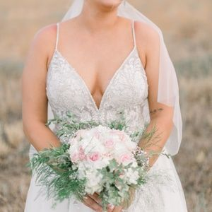 Wedding dress size 10 altered for 5'8